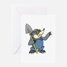 Mole with Shovel Greeting Cards