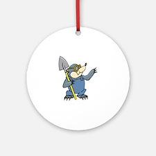 Mole with Shovel Round Ornament