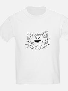 Cartoon Cat Face Outline T-Shirt