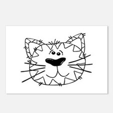 Cartoon Cat Face Outline Postcards (Package of 8)