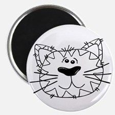 Cartoon Cat Face Outline Magnets