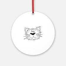 Cartoon Cat Face Outline Round Ornament