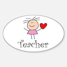 Cute TEACHER Oval Decal