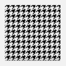 Houndstooth: Black & White Checkered Tile Coaster