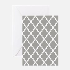 Gray Moroccan Quatrefoil Pattern Greeting Card