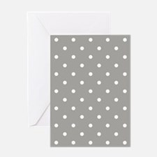 Gray & White Polka Dots Greeting Card