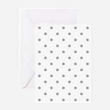 White & Gray Polka Dots Greeting Card