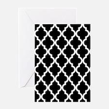 Black & White Moroccan Pattern Greeting Card