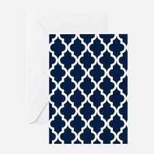 Blue, Navy: Quatrefoil Moroccan Patt Greeting Card