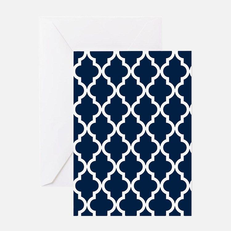 Navy Blue Moroccan Quatrefoil Design Greeting Card