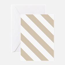 Beige (Khaki) & White Stripes Pattern Greeting Car