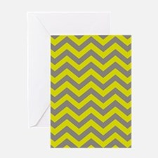 Chartreuse & Grey Chevron Pattern Greeting Card