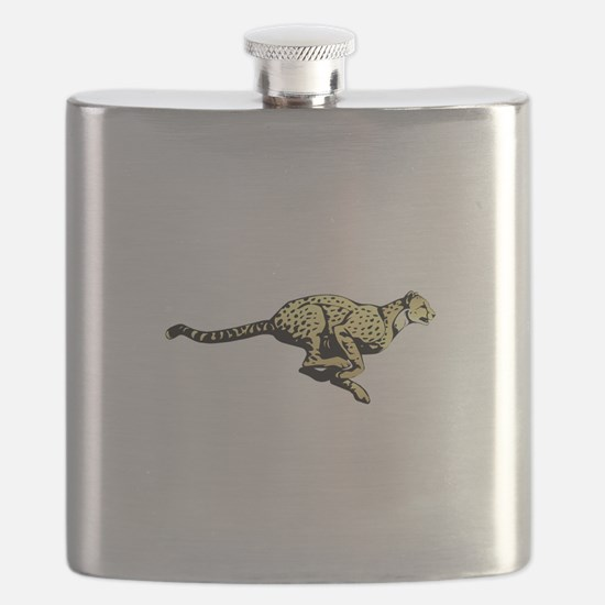 Yellow Cheetah with black dots Flask