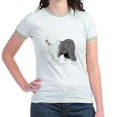 Old English Sheepdog (Front) Jr. Ringer T-shirt
