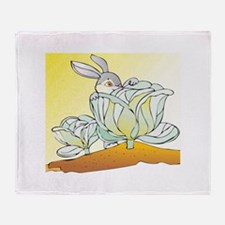 Rabbit and Cabbage Throw Blanket