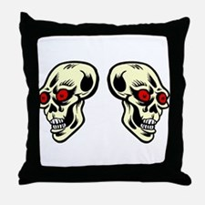 Red Eyed Skulls Throw Pillow