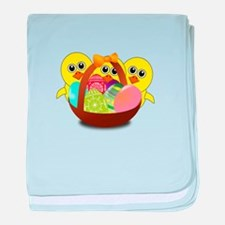 Funny Chicks Cartoon with Easter eggs baby blanket