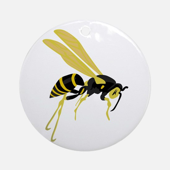 Flying Wasp Round Ornament