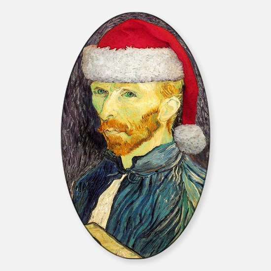 Van Gogh Santa Oval Decal