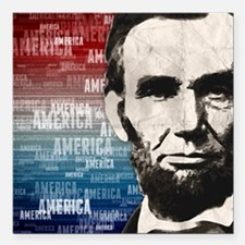"Patriot Abraham Lincoln Square Car Magnet 3"" x 3"""