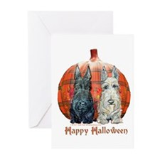 Halloween Pumpkin Scotties Greeting Cards (Pk of 2