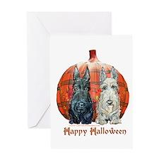 Halloween Pumpkin Scotties Greeting Card