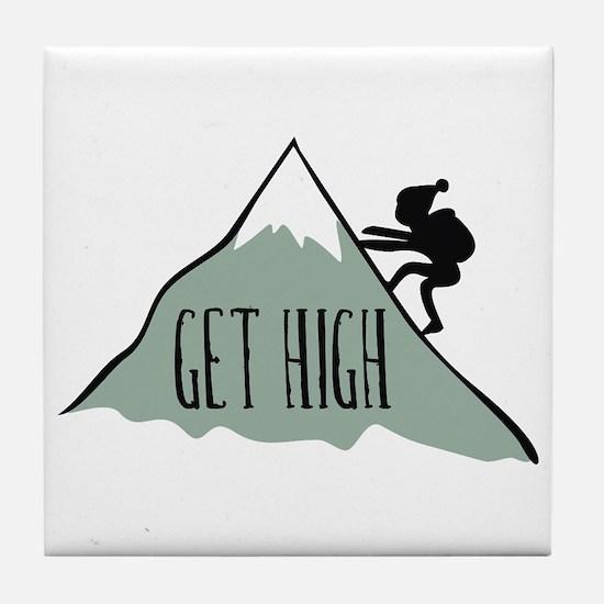 Get High: Mountain Climbing Tile Coaster