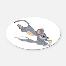 Mouse Running shadow Oval Car Magnet