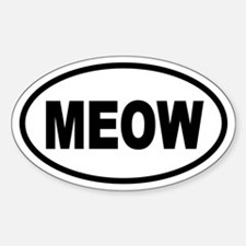 Cat MEOW Oval Stickers