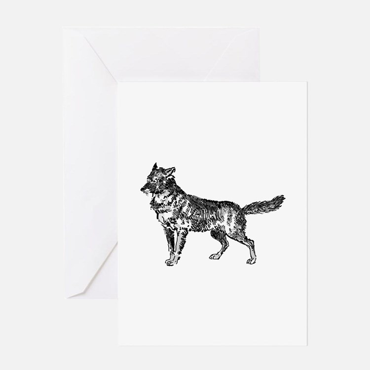 Jackal silhouette Greeting Cards