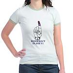 Vote Finger - Democracy is Job #1 Jr. Ringer T-shi