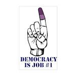 Vote Finger - Democracy is Job #1 Sticker (Rectang