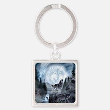 Cute Wolf Square Keychain