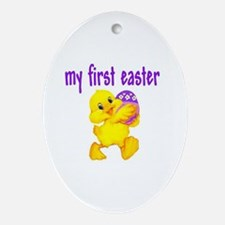 Cute Babies 1st easter Oval Ornament