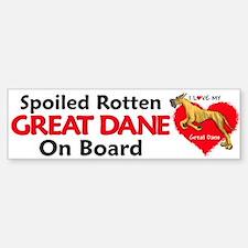 Spoiled Brindle Dane Bumper Car Car Sticker