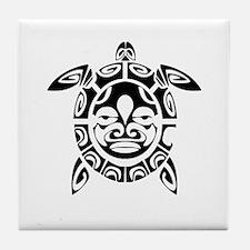 Tribal Mask Sea Turtle Tile Coaster