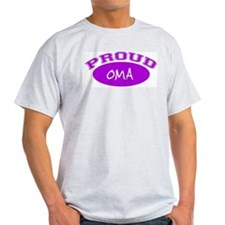 Proud Oma (purple) Ash Grey T-Shirt