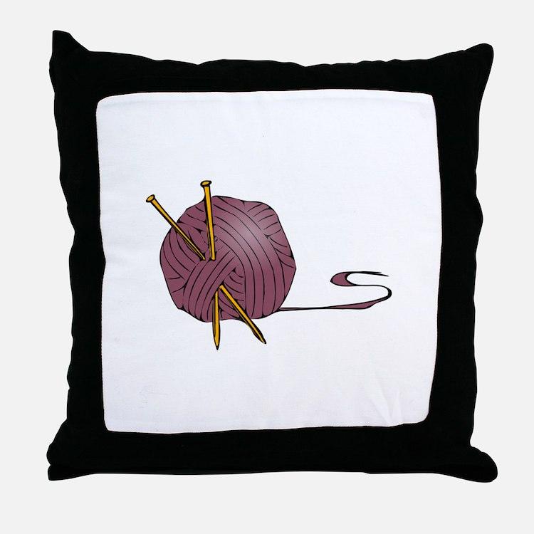 Knitting yarn needles Throw Pillow