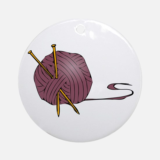 Knitting yarn needles Round Ornament