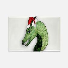 Green Christmas dragon Magnets