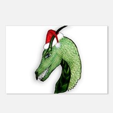 Green Christmas dragon Postcards (Package of 8)