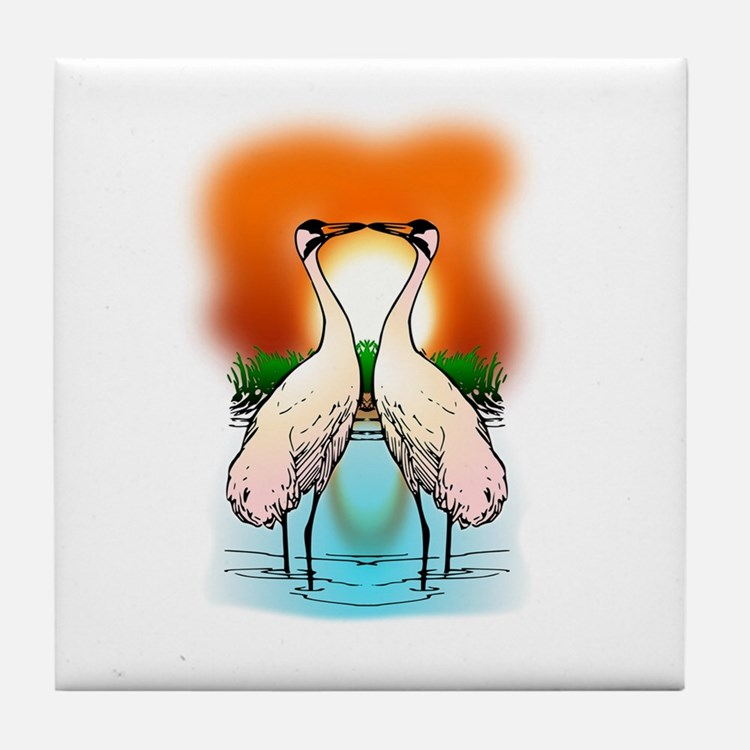 Valessiobrito two love whooping crane Tile Coaster