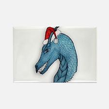 Blue christmas dragon Magnets