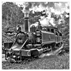 Vintage Black and White Steam Train Locom Wall Art Poster