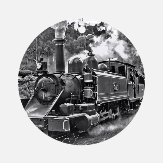 Vintage Black and White Steam Train Round Ornament