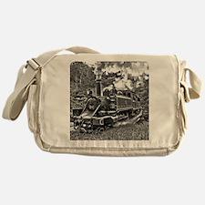 Vintage Black and White Steam Train Messenger Bag