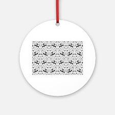 Vintage Black White Swirl Round Ornament