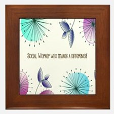 Social Worker Floral Art Framed Tile