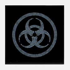 Stone Gray Biohazard Symbol Tile Coaster
