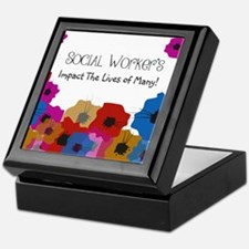 Social Worker Floral Art Keepsake Box